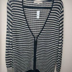 Loft Zippered Cardigan Sweater Zip Textured Stripe